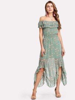 Layered Ruffle Neck Ruched Waist Asymmetrical Dress