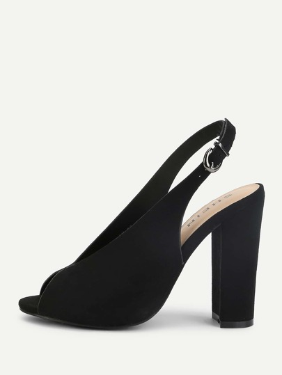 Peep Toe Block Heeled Pumps