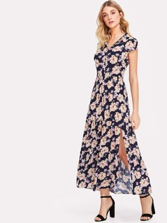 Flower Print Cutout Back Tiered Shirt Dress