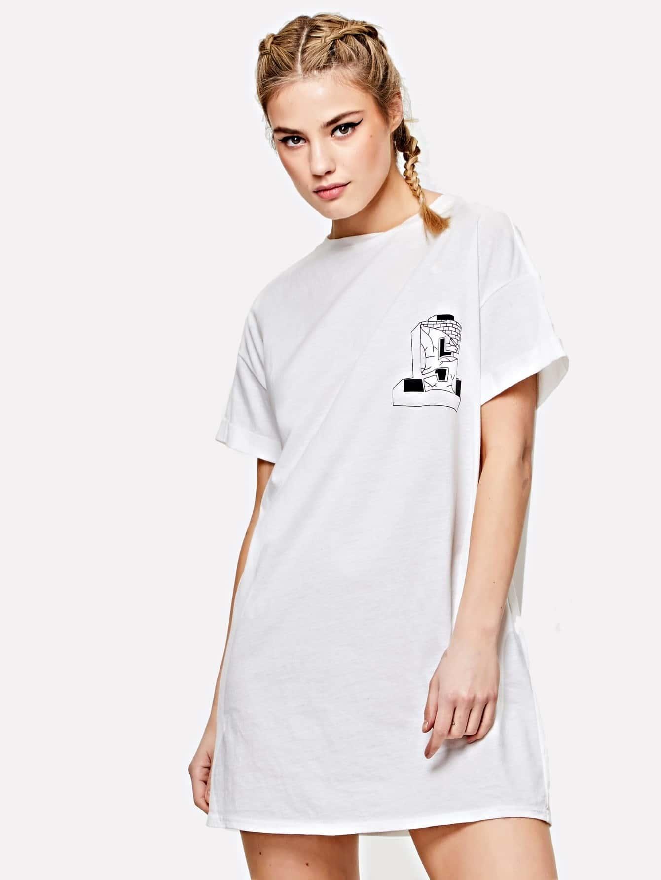 Rolled Sleeve Mixed Print Dress mixed print dress