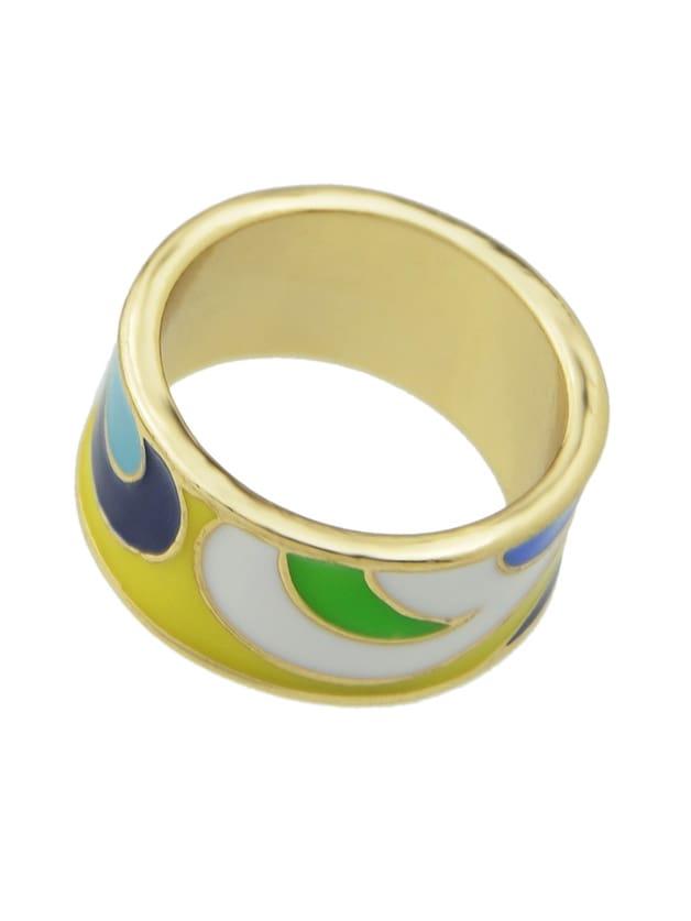 Yellow-8 Geometric Pattern Finger  Rings 3pcs set hyperbole geometric circle v shape finger rings