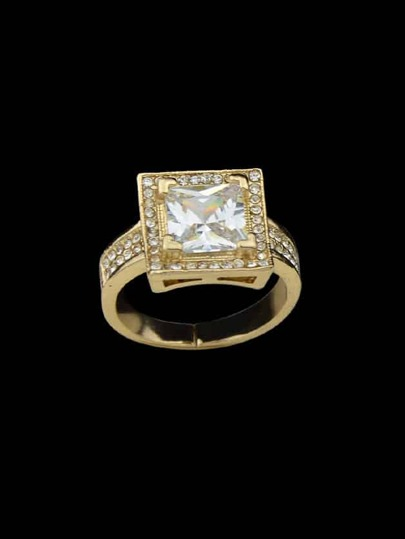 Gold-8 Square Cubic Zirconia Finger Rings