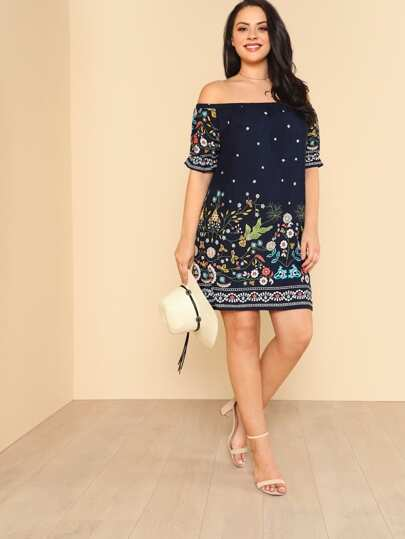 Botanical Print Off Shoulder Dress