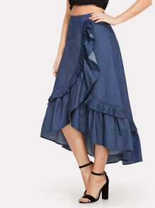 Asymmetrical Ruffle Trim Denim Skirt
