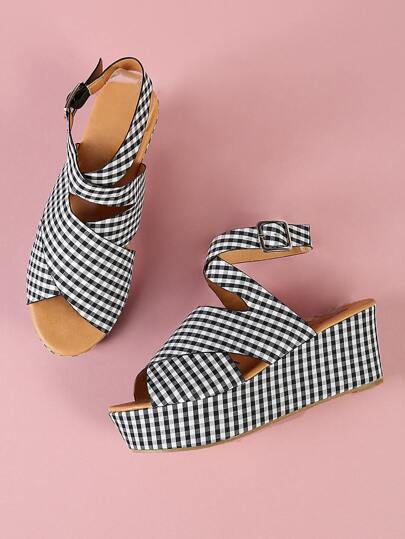 Gingham Thick Criss Cross Strappy Wedge Sandal BLACK WHITE