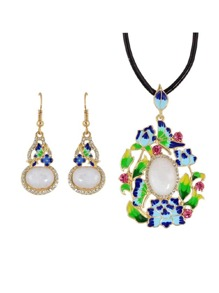 Jewelry Set Opal Butterfly Necklace And Earrings