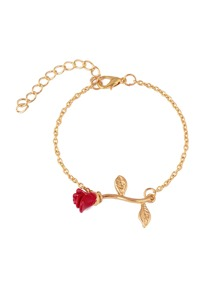 Rose Linked Chain Bracelet 1pc