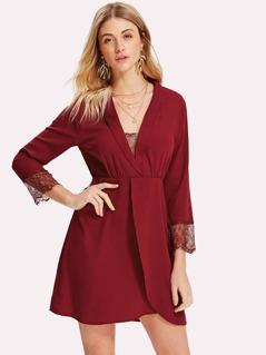Shawl Collar Lace Insert Overlap Dress