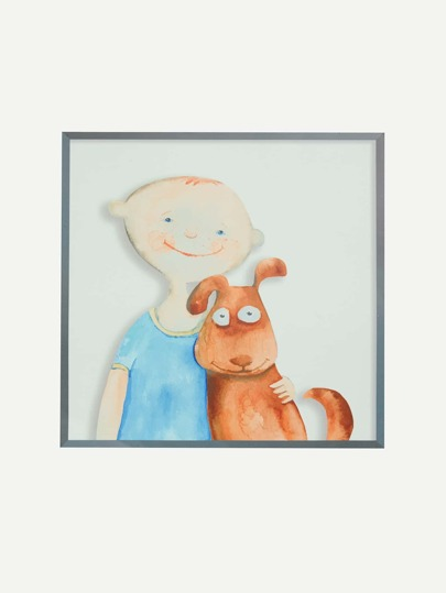Boy & Dog Print Wall Decal