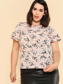 Ladder Lace Detail Layered Sleeve Floral Top