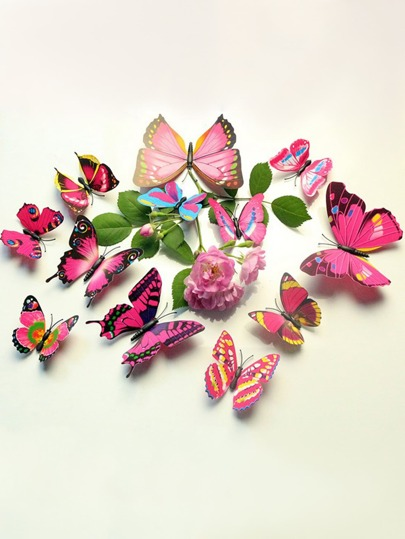 Fake Flower & 3D Butterfly Wall Stickers