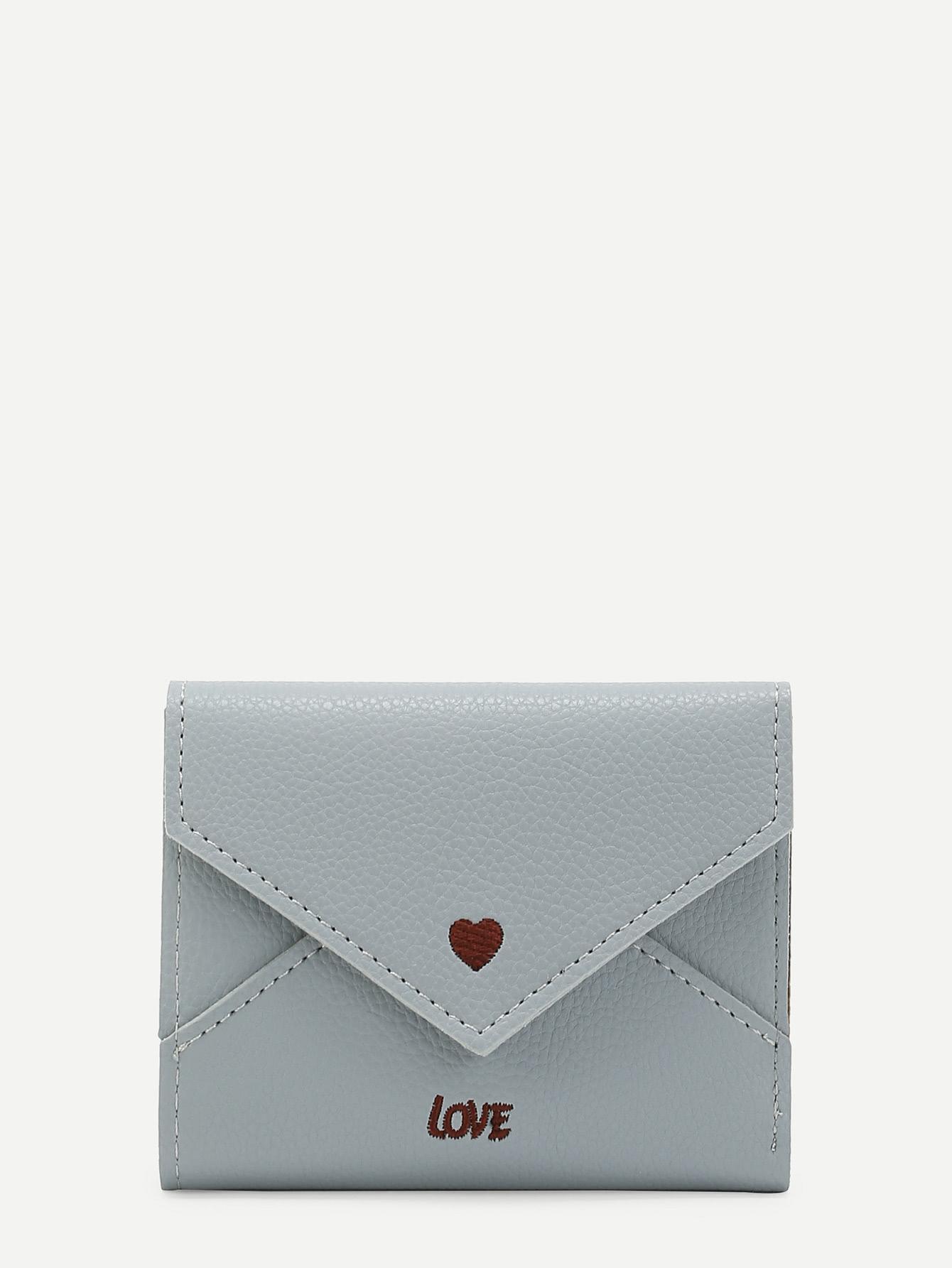 Купить Модное кожаное портмоне с текстовой вышивкой, null, SheIn