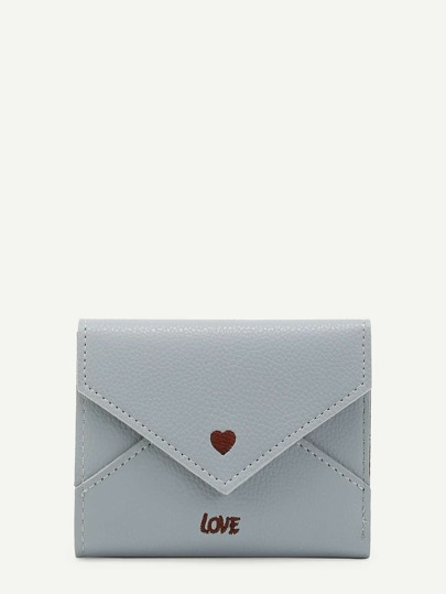 Heart & Letter Embroidered PU Purse