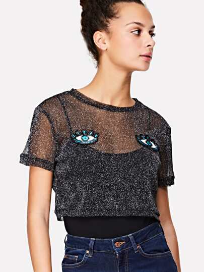 Eyes Embroidered Applique Glitter Sheer Top