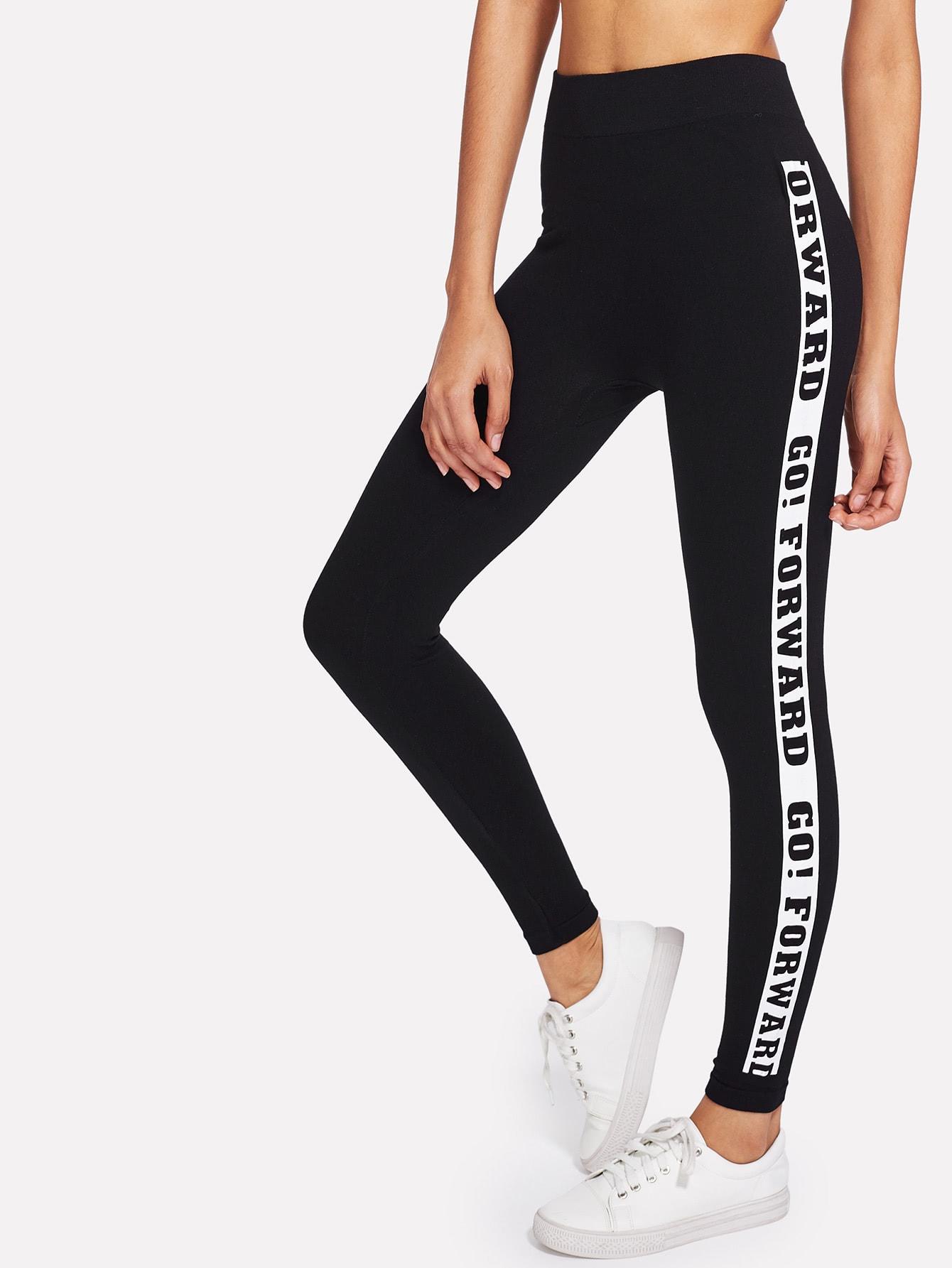 Slogan Print Side Skinny Leggings