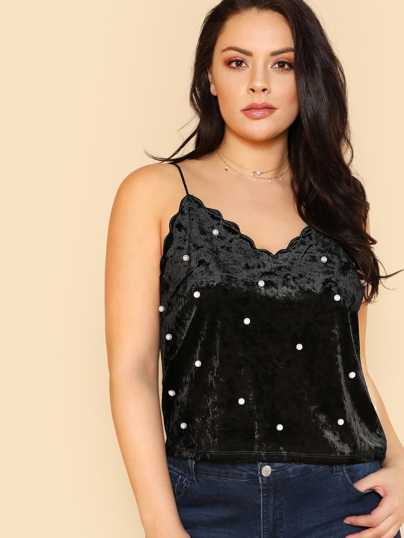 Pearl Beading Scalloped Velvet Cami Top pearl beading layered sleeve top