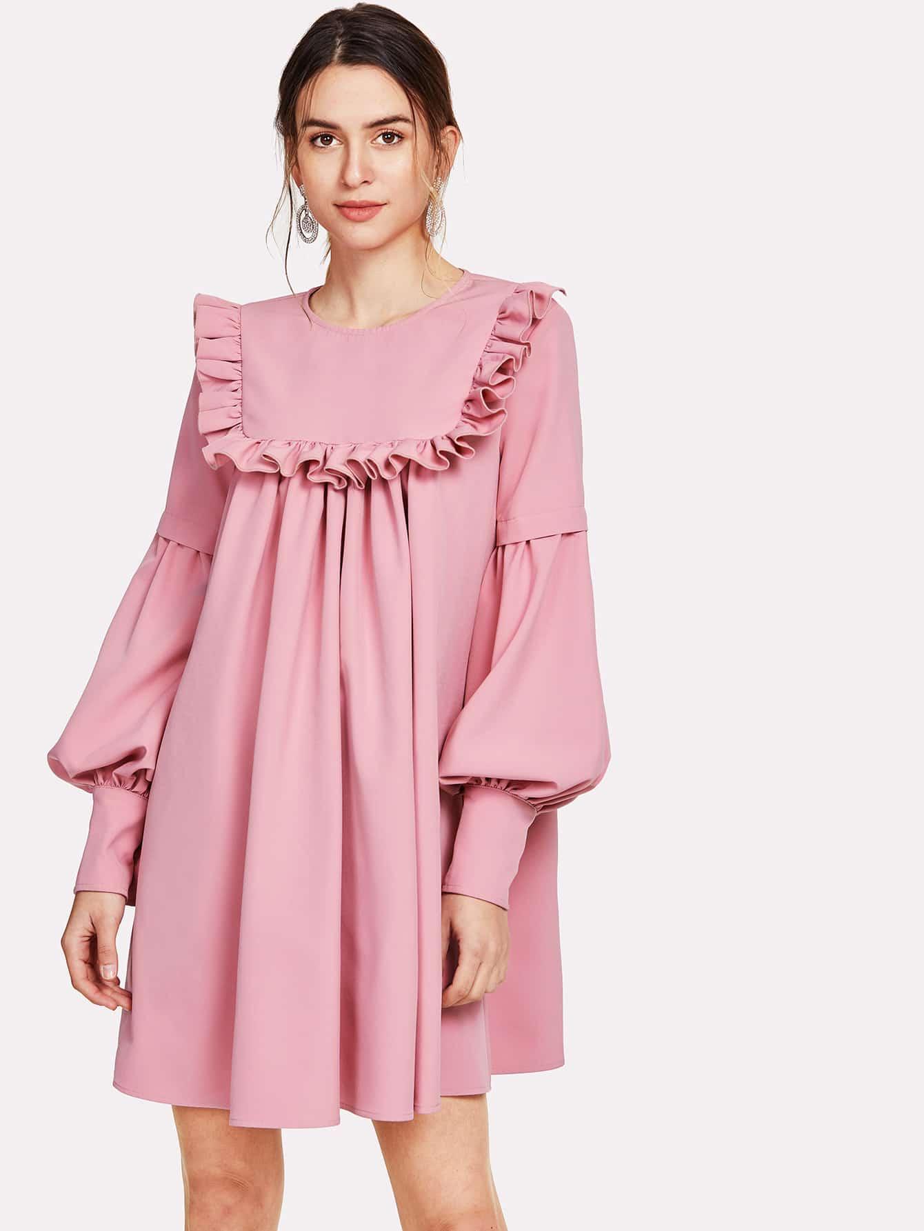 Ruffle Yoke Lantern Sleeve Flowy Dress lantern sleeve ruffle trim pinstripe dress