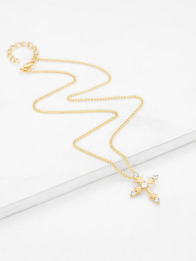 Cross Pendant Chain Necklace With Rhinestone