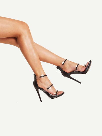 Clear Detail Strappy Stiletto Sandals