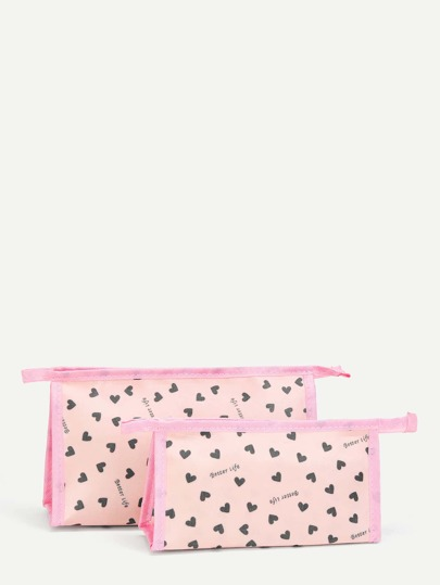Heart Print Makeup Bag 2Pcs