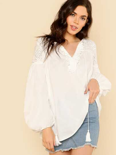 Eyelet Embroidered Shoulder Lantern Sleeve Top