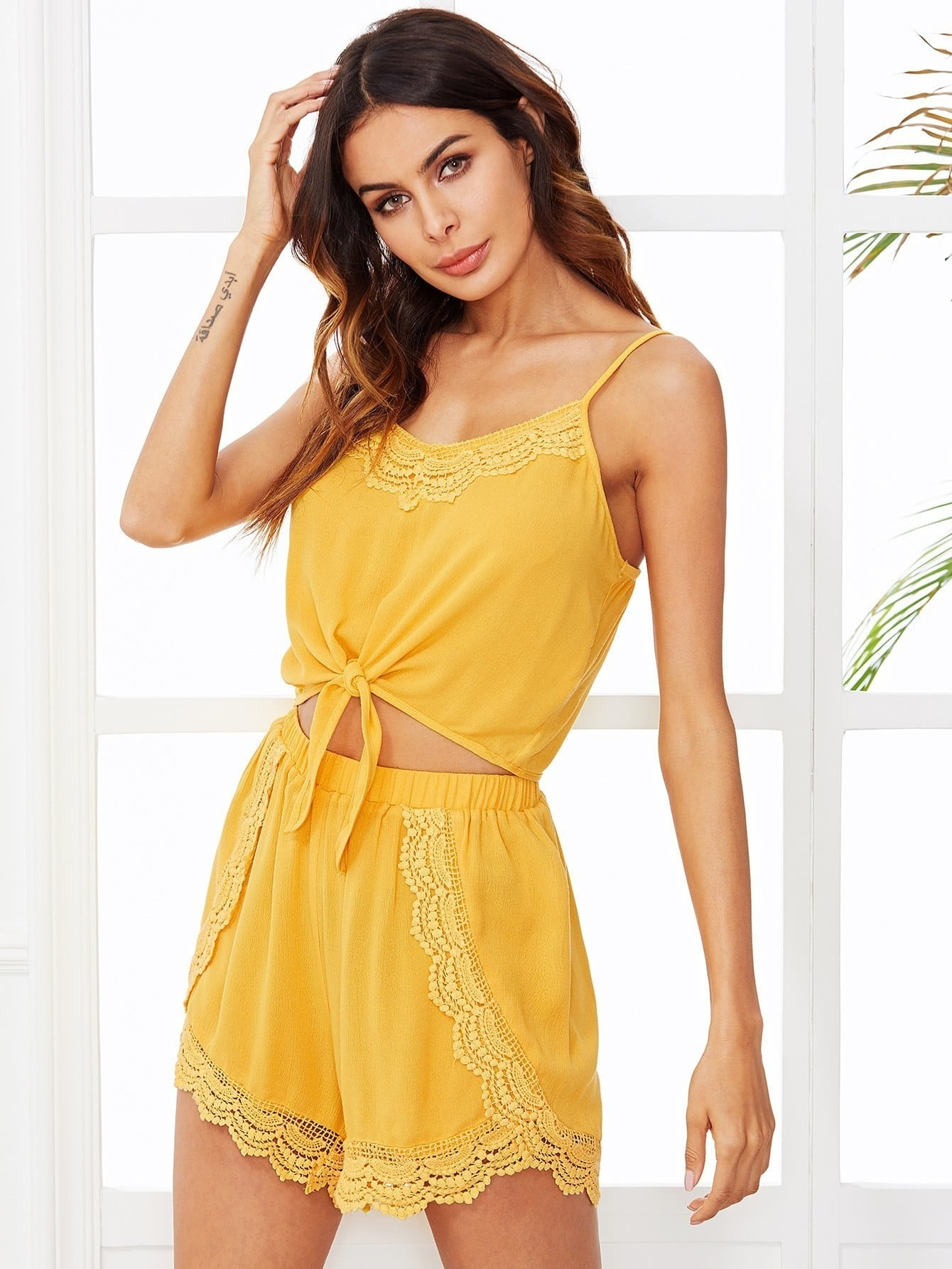 Knot Front Crochet Detail Cami Top With Shorts Pajama Set knot front crisscross detail bikini set