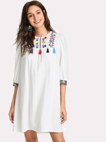 Embroidered Yoke Pompom And Fringe Detail Dress