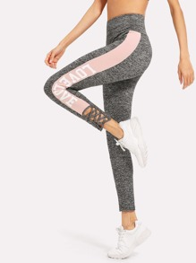 Crisscross Contrast Panel Side Marled Leggings