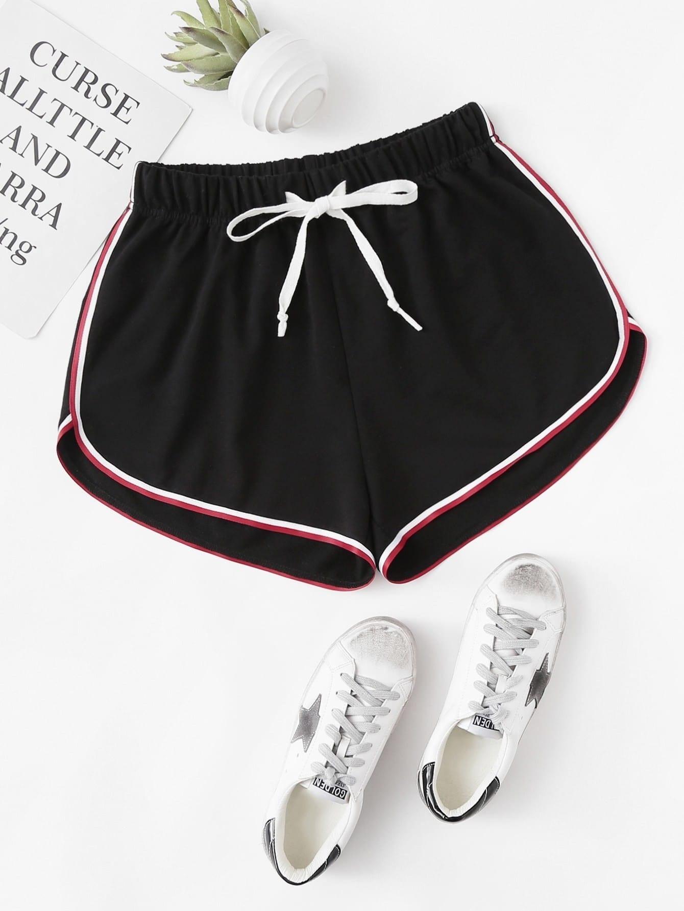 Striped Dolphin Hem Drawstring Shorts sweet wavy hem design striped shorts for women