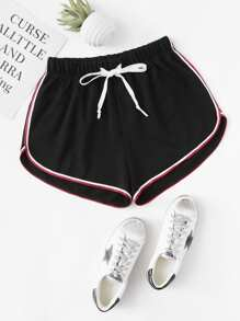 Striped Dolphin Hem Drawstring Shorts