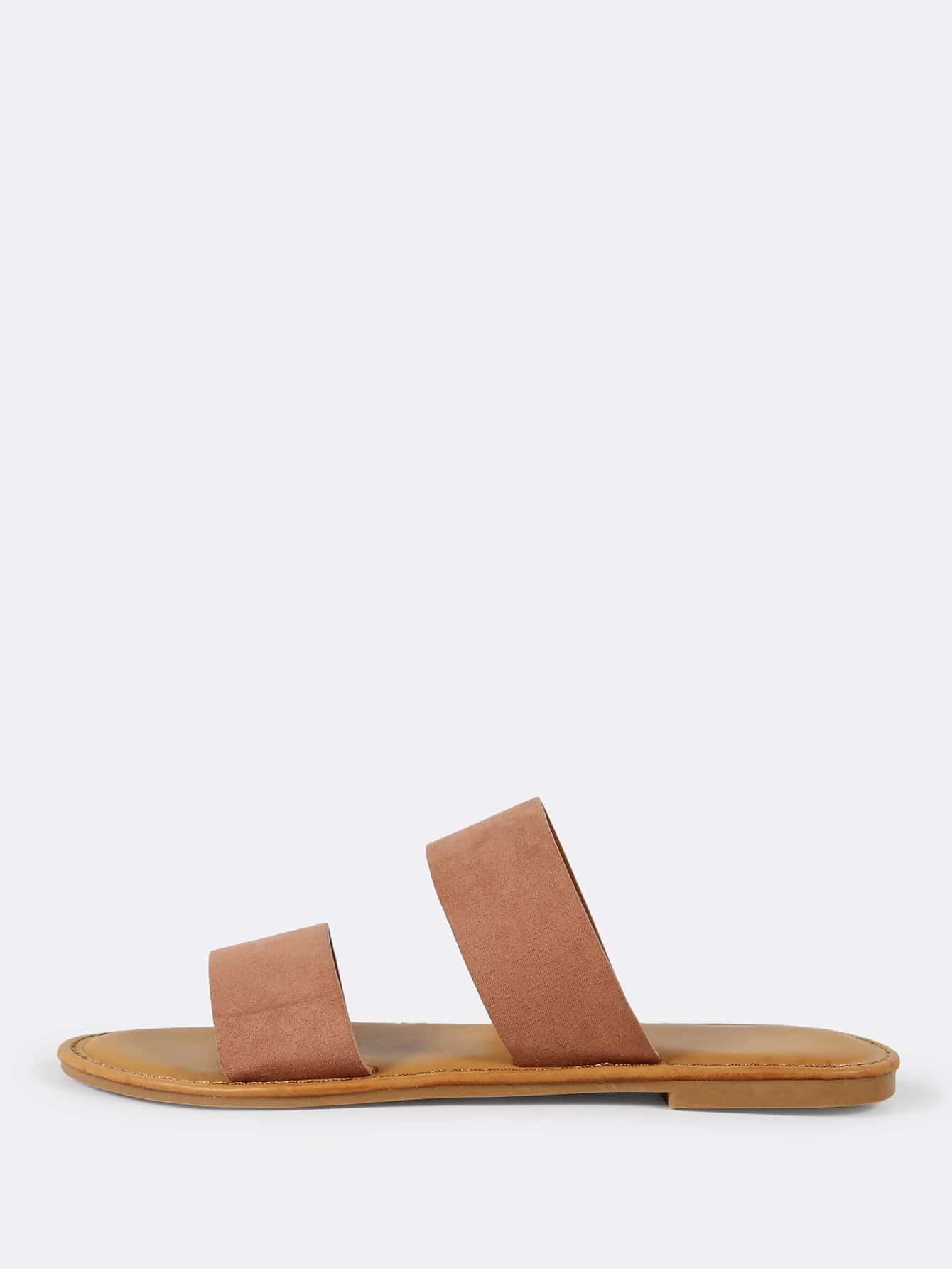Faux Suede Double Band Slide Sandal MOCHA шлепанцы женские soludos knotted slide sandal ivory