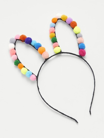 Pom Pom Detail Rabbit Ear Headband