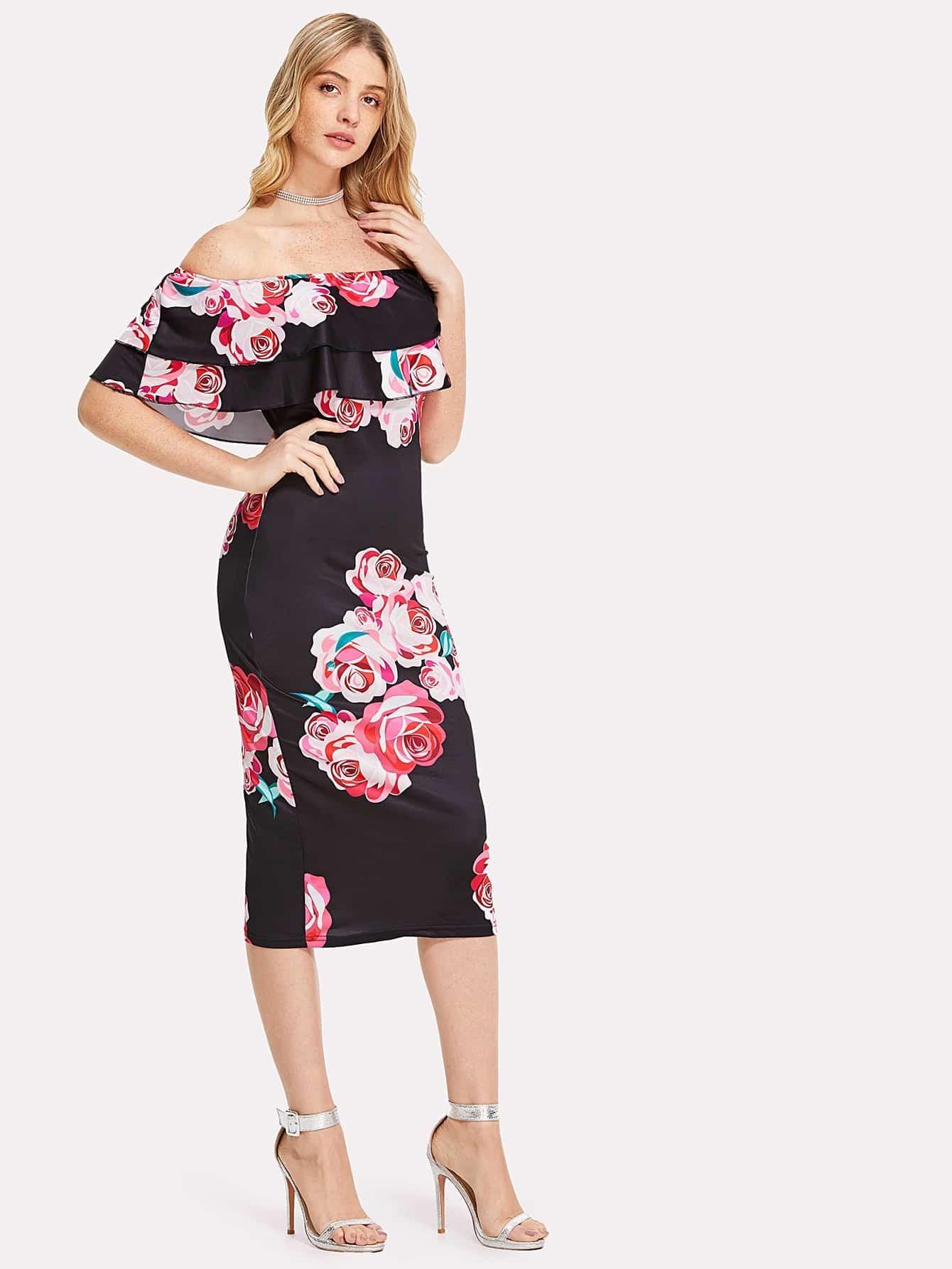 Flounce Bardot Neck Floral Pencil Dress floral flounce bardot dress