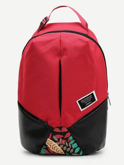 PU Panel Curved Top Backpack