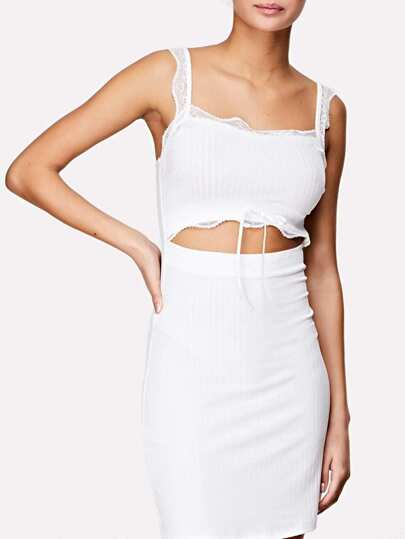 Lace Detail Cutout Midriff Ribbed Dress