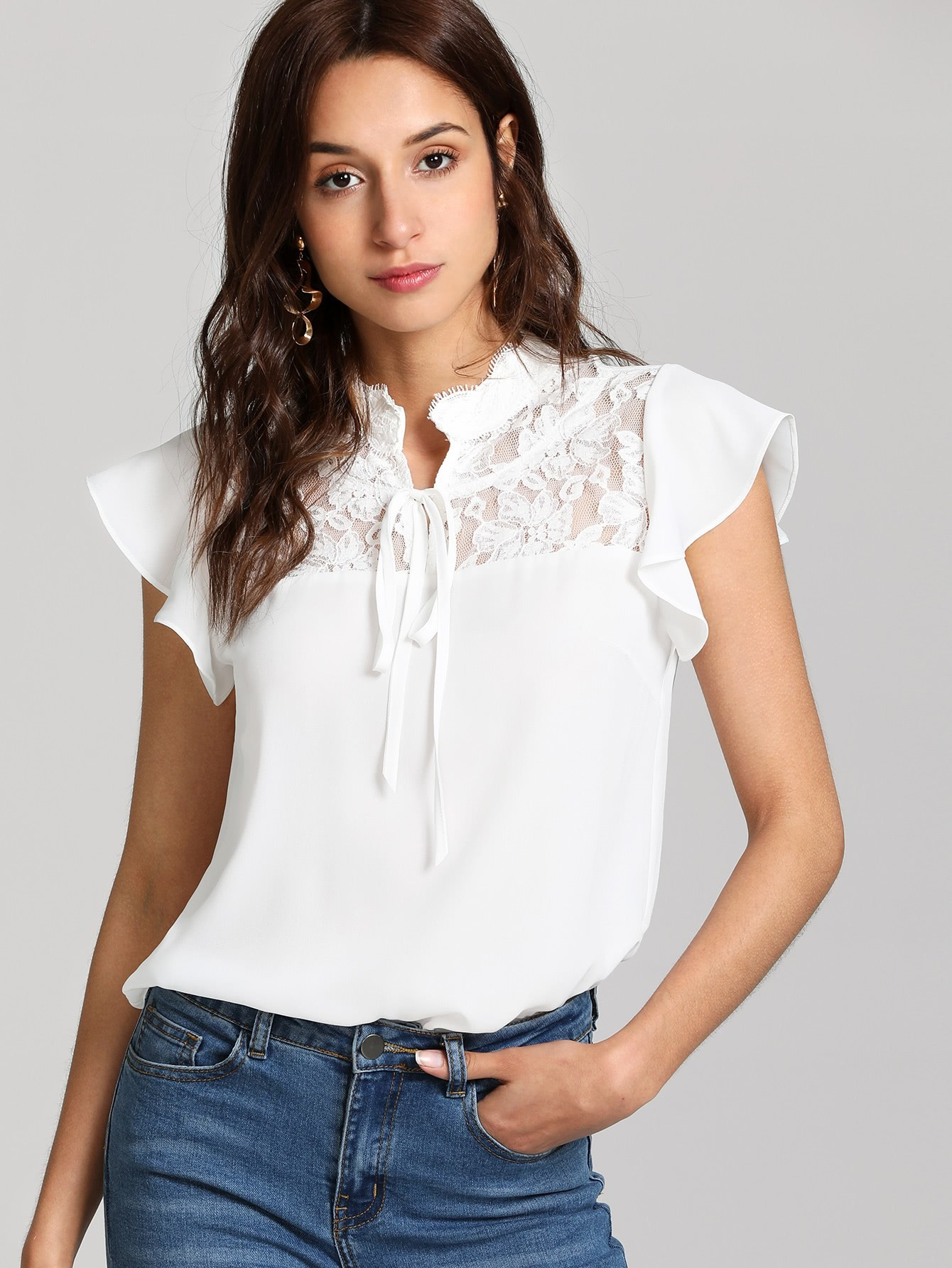 Knot Front Floral Lace Yoke Top