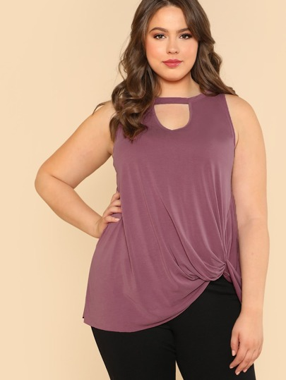 Sleeveless Top with Keyhole Front and Side Twist Detail MAUVE PINK