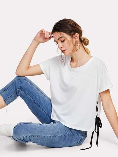 Grommet Lace Up Side Tee