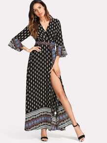 Image of Tribal Print Flounce Sleeve Belted Dress