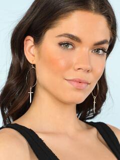 Hoop Earrings with Dangling Sword Gems GOLD