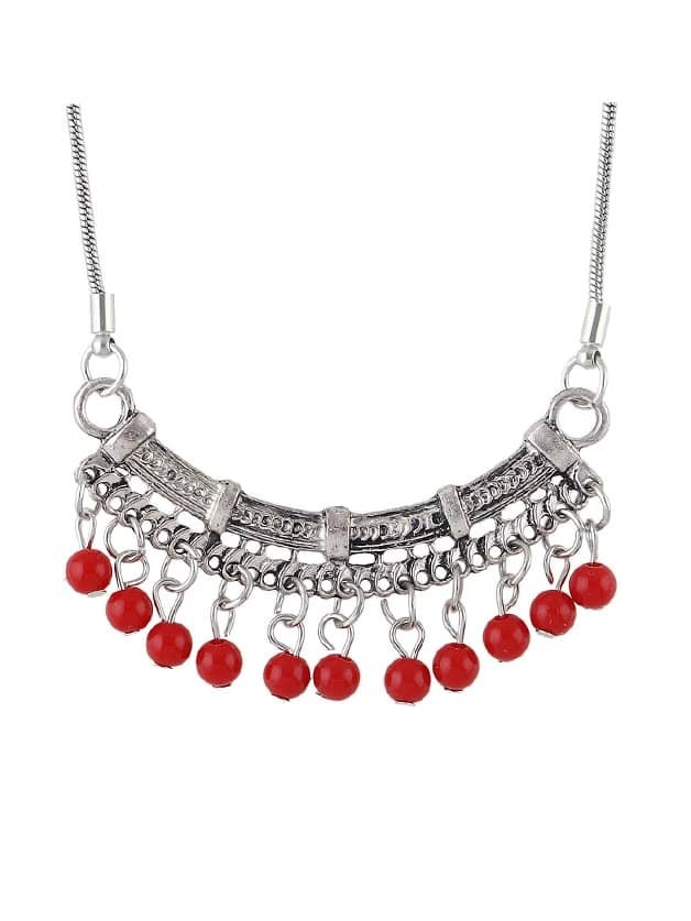 Red Beads Geometric Pendant Necklace beads pendant necklace