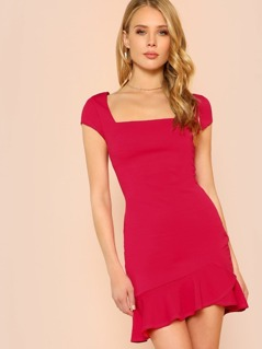 Ruffle Hem Cap Sleeve Sheath Dress with Keyhole Back