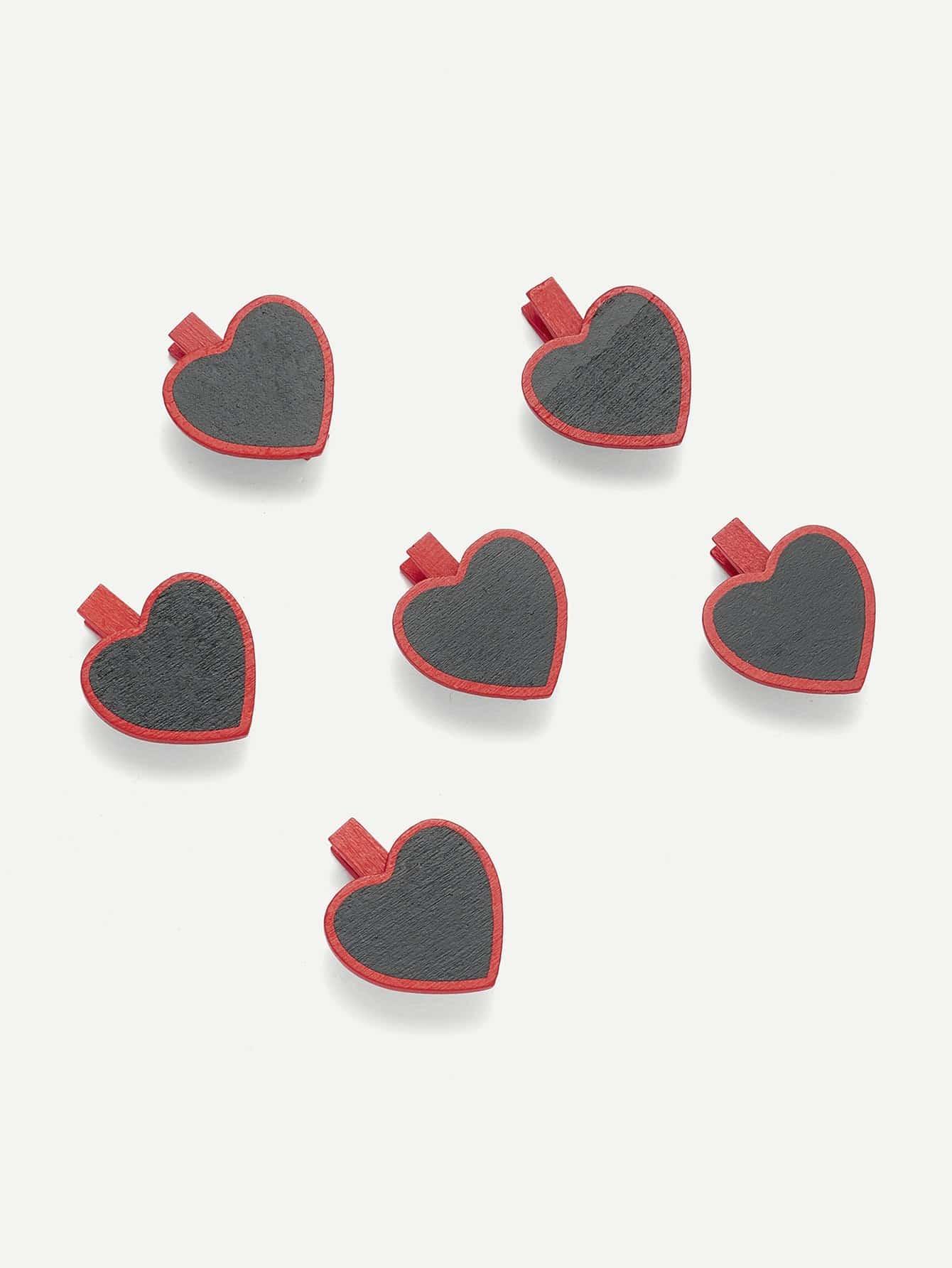 Heart Shape Blackboard Wooden Clips 6 Pcs
