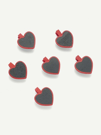 Heart Shape Blackboard Wooden Clips 6 Pcs