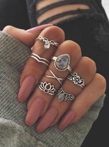 At-Silver 7Pcs/Set Flower White Opal Rings