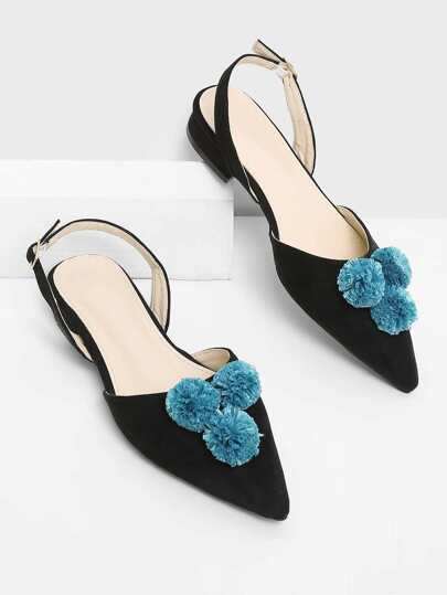 Pom Pom Decorated Pointed Toe Flats