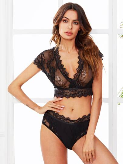 Open Back Lace Crop Top And Pantie PJ Set