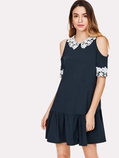 Lace Applique Cold Shoulder Drop Waist Dress