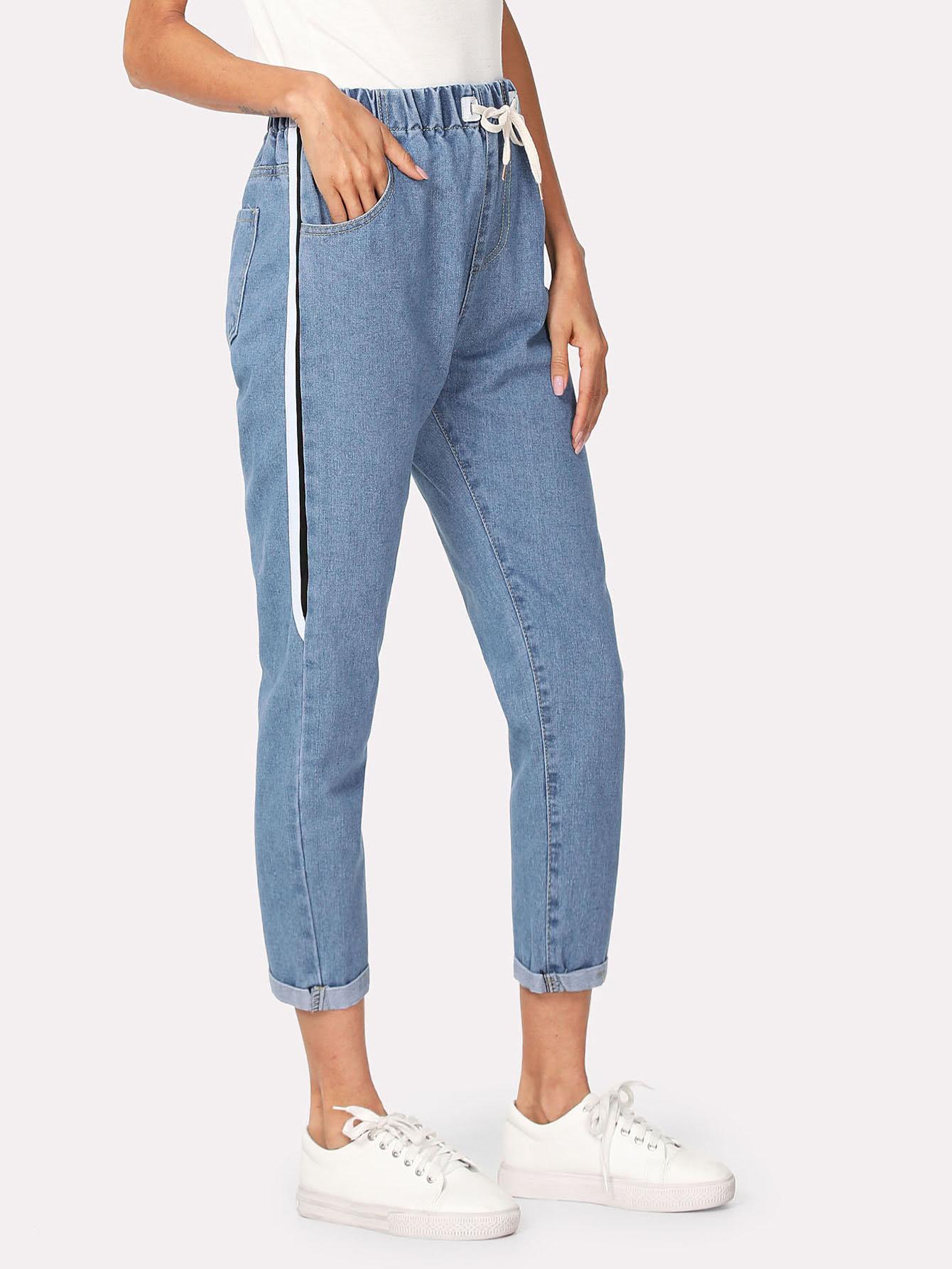 Drawstring Waist Roll Up Hem Jeans