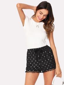 Polka Dot Pompom Detail Shorts
